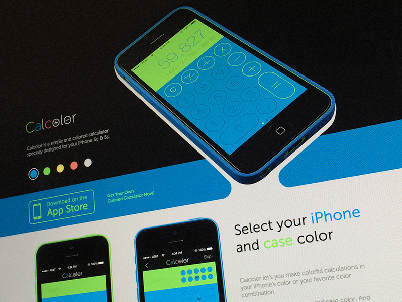 Calcolor - Colorful calculator for iPhone iphone app ios7 ios 5s 5c 5 calculator landing flat website color