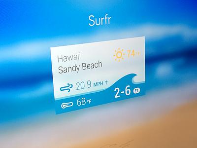Surfr - Google Glass App Concept surf app glass google beach weather wind sea board report speed wave