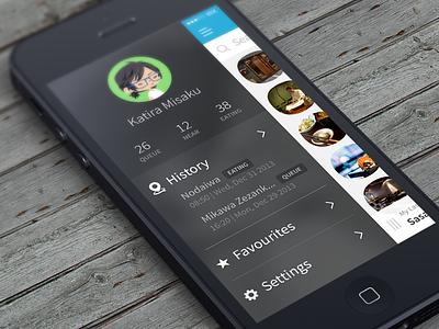 Queuefo App - User Menu tokyo japan user menu ios app ui design restaurant social left side