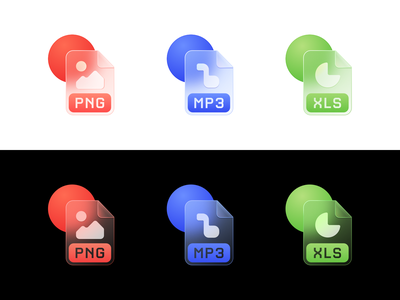Glass File Icons morphisim illustration icons pack iconset colorful graphic blur icon design glassmorphism icon file glass