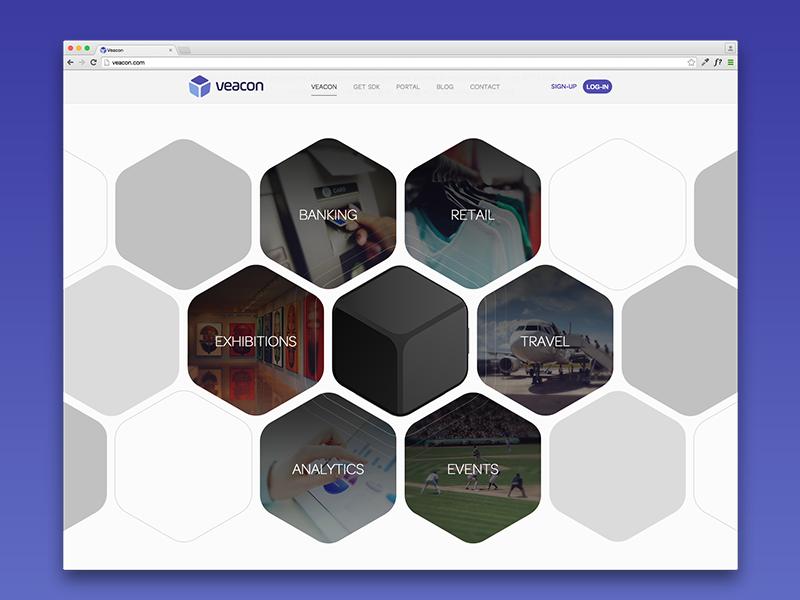 Veacon Web veacon ibeacon web product website design hexagon