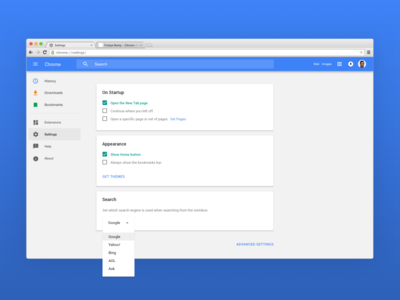 Daily UI: Design 006 — Chrome Settings