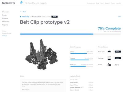 New Formlabs Dashboard — Live Print Page