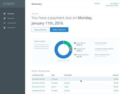 Credit Card Dashboard Concept