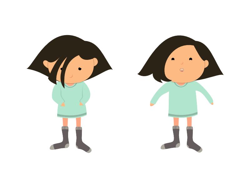 Sad and Happy Girl character girl