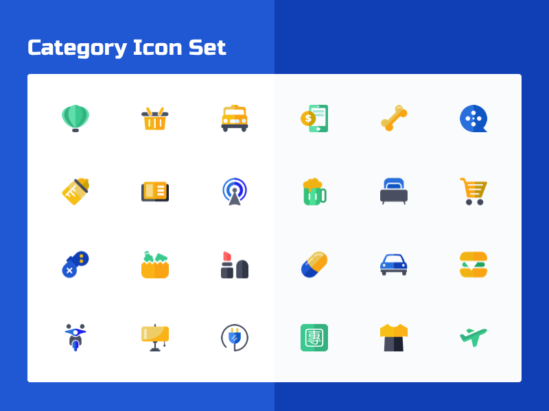 Category Icons plane fashion lamp motor bike beauty book mobile phone bus basket travel icons