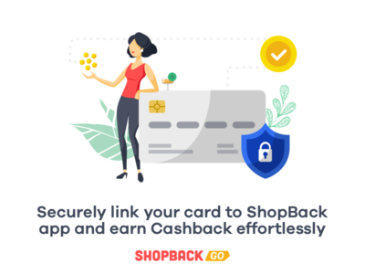 Link your card securely payment finance money security girl illustration bank card