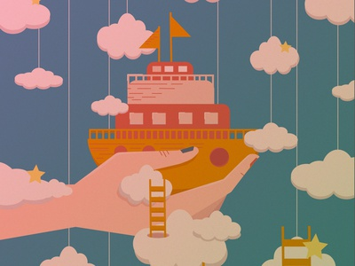 Ship digital illustration vector design flat 2d art illustration digitalart