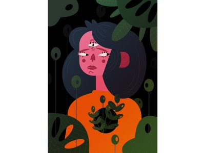 Magic forest book illustration girl vector illustration flat characterdesign digital illustration digitalart design art 2d