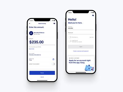 US Bank - Mobile app login usbank payment bank app minimal ux ui design