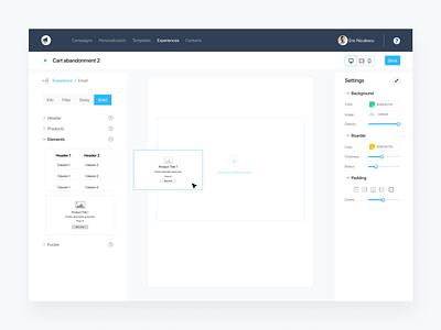 CustomerVox Email Builder ux ui moving block dashboard automation builder app web