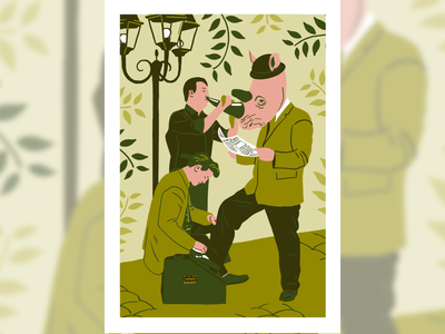 Glossy Rhino procreate illustration drawing design newspaper shoes green rhino rhinoceros