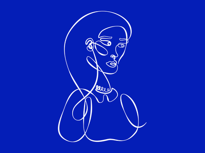 One line portrait beautiful girl illustration design woman portrait woman blue and white blue drawing one line