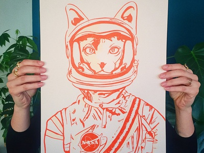 Chastronaute Screen Printing ink paper sérigraphie orange spacesuit nasa space chat cat illustration screen printing