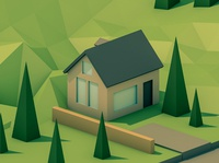 Rkhamwin Village low poly 3d cinema 4d