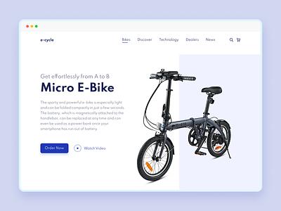 Micro E-Bike Header Design headers ecommerce ebike bike header exploration header design electricbike minimal landingpage ui web design