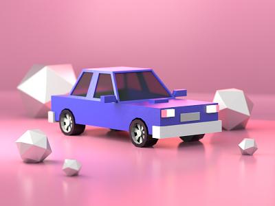Car cinema4d toy plastic cute car redshift 3dmodeling blender lowpoly c4d 3d