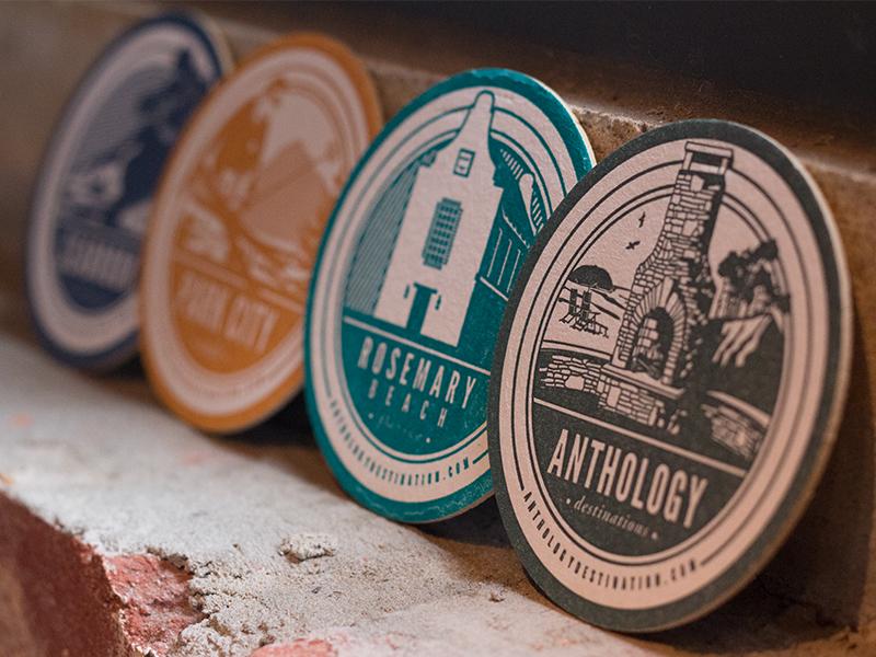 Anthology letterpress branding identity illustration coasters monochrome