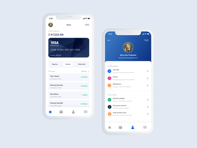 Finance Banking App Concept profile currency exchange financial services currency fiat fiat wallet finance wallet wallet financial app finances bank app bank card banking app finance business finance app finance concept ui