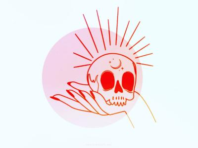 EGO DEATH dark spiritual skull process occult mysticism mystic minimal magic line art line illustration hand drawn hand esoteric trippy ego abstract