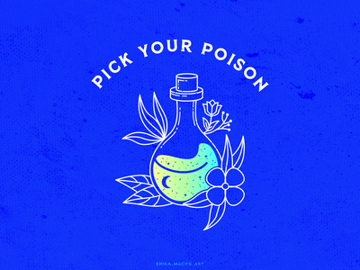 pick your poison alcohol branding bartender bar colorful design hand drawn drawing for fun poison drink series vector illustration