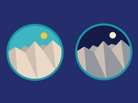 Day and Night Mountain Range