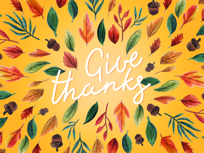 Give Thanks Card 🍁🍂 cute series new texture thanksgiving fall season postcard letters handmade hand drawn greeting color palette card autumn colorful illustration