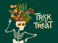Trick or Treat? skeleton halloween fall hand drawn colorful vector illustration