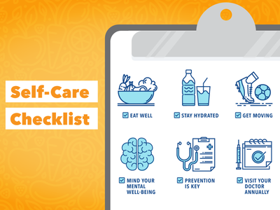 Self Care Checklist icons icon typography medical healthcare healthy lifestyle self care healthy cute design colorful vector illustration