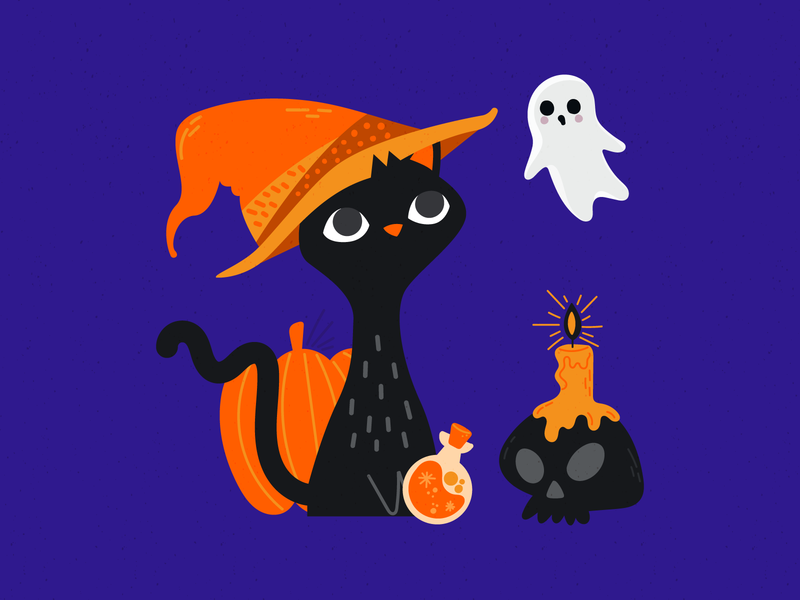 Scaredy Cat ghost color palette spooky season pumpkin cat illustration drawn hand drawn halloween fall colorful autumn