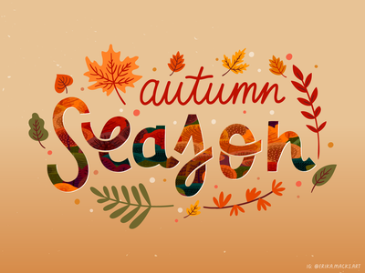 autumn card 2021 lettering autumn fall drawn illustration