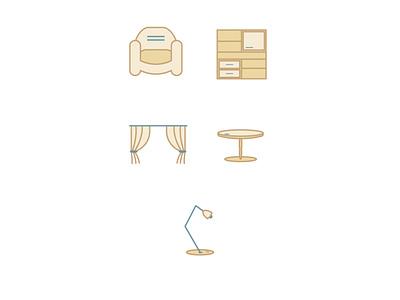 furniture icons color app web flat icon vector illustration design