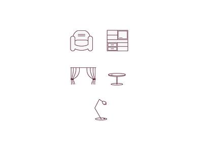furniture icons line branding web app icon vector illustration design