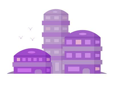 Futuristic houses futuristic house flat vector illustration design