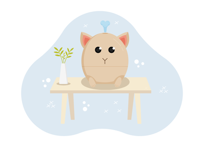 Humidifier in the shape of a cat cartoon cat humidifier flat vector illustration design