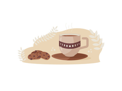 Delicious cookies with coffee for breakfast breakfast cookies cookie coffee web cartoon branding flat vector illustration design