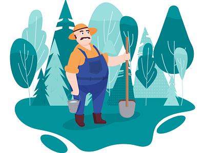 farmer in the forest farmer farm character vector illustration design