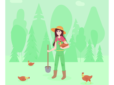 farmer girl holding chicken chicken girl farmer cartoon flat vector illustration design