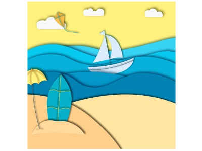 paper cutout beach beach cutout papercut paper vector illustration design