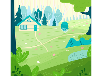 House in the woods woods house cartoon flat vector illustration design