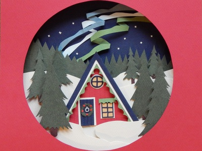 Winter Cabin arctic forest festive kidlitillustration kidlitart kidlit christmas winter illustration papercutting papercut paper craft papercraft paper collage paper art childrens illustration childrens book illustration childrens book