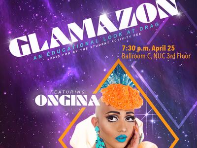 Glamazon university drag posterdesign ongina