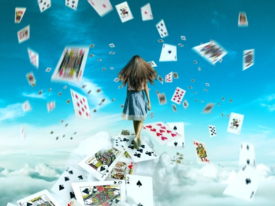 "retouch ""Alice walking in the sky"" photoshop graphic design retouch"
