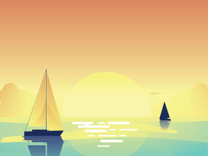 Sunset ocean water boats sunset
