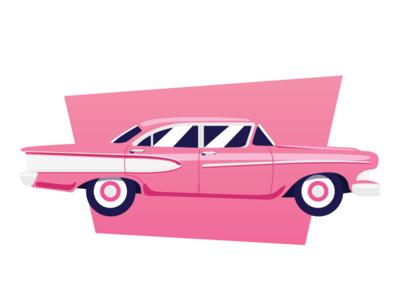 1950's Car pink 1950 car