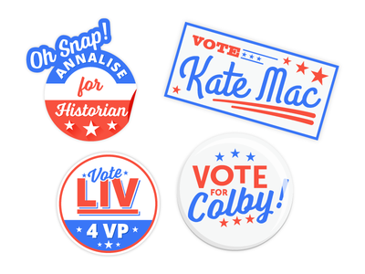 School Elections white  blue red election button sticker