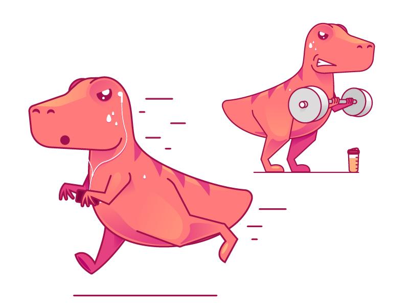 Motivated Dino motivation workout dinosaur