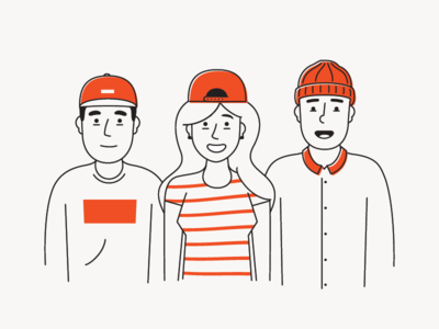 Hat Crew smiles people group illustration hats