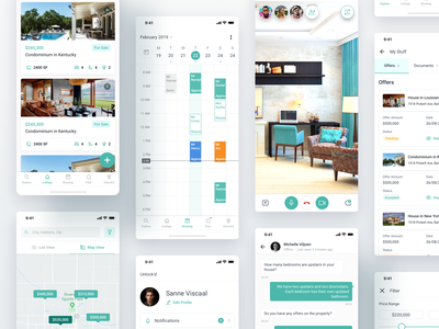 Unlock'd App Design - Real Estate illustration calendar sales home filter listing conference video realestate property task signature calender chat design app ux ui