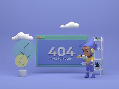 Error 404 Web Page Design blender 3d 3d art branding web 404 error page ui  ux ui design web design blend 3d illustration